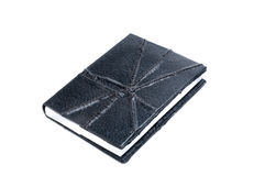 Black leather  note book. Isolated on white Stock Image