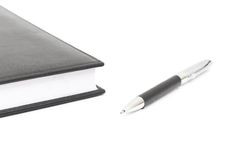 Black leather Notebook and pen Royalty Free Stock Image