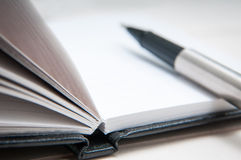 Black leather notebook Stock Image