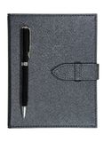 Black leather notebook and pen Stock Photography