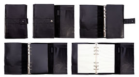 Black leather notebook on white background Royalty Free Stock Photos