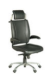 Black leather office chair. Isolated black leather, wheeled chair Royalty Free Stock Photography