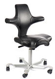 Black leather office chair isolated on white Stock Images