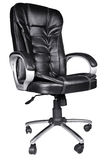 Black Leather Office Chair isolated on white Royalty Free Stock Photo