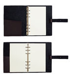Black leather organizer notepad copybook scheduler Royalty Free Stock Photography