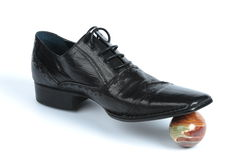 Black leather Oxford shoes Royalty Free Stock Images