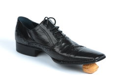 Black leather Oxford shoes stock photography