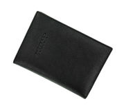 Black Leather Passport Holder At An Angle Top View Stock Images