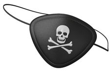 Black leather pirate eyepatch with a scary skull and crossbones Stock Images