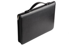 Black leather portfolio Royalty Free Stock Photos