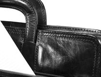 Black leather portfolio Stock Photography