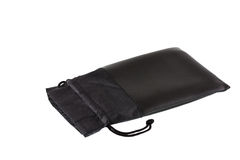 Black leather pouch with cord Royalty Free Stock Image