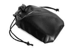 Black leather pouch Royalty Free Stock Images