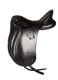 Black leather premium dressage saddle isolated Royalty Free Stock Image