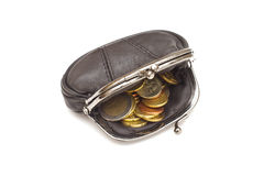 Black leather purse Stock Image
