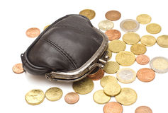 Black leather purse Stock Photography