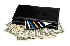 Black leather purse with banknotes and credit cards Royalty Free Stock Photos