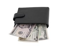 Black leather purse with dollars Royalty Free Stock Photos