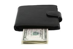 Black leather purse with dollars Royalty Free Stock Photography