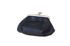 Black leather purse. Isolated Royalty Free Stock Photo