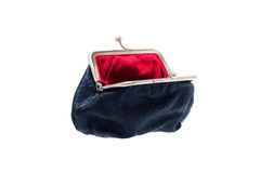 Black leather purse. Isolated. Close-up Stock Images