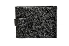 Black leather purse isolated on white background. Black leather wallet isolated on white background Stock Photo