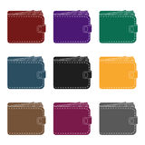 Black leather purse with money dollar. Taxi payment means. Taxi station single icon in black style vector symbol stock. Web illustration Royalty Free Stock Photos