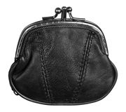 Black leather purse Royalty Free Stock Photos