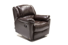 Black leather recliner with control knob against white background Royalty Free Stock Photo