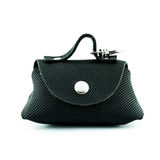 Black leather retro coin purse Stock Images