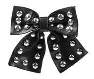 Black leather ribbon bow Royalty Free Stock Images