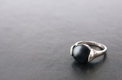 Black leather and ring Stock Image
