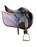 Black leather saddle isolated on white Stock Photography