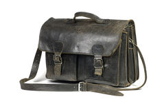Black leather schoolbag. On a white background Royalty Free Stock Photo