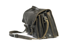 Black leather schoolbag 2. Black leather schoolbag on a white background Royalty Free Stock Images