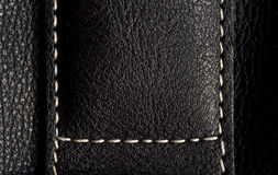 Black leather with with seams close-up Stock Photos