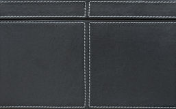 Black leather with seams close-up Royalty Free Stock Images
