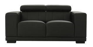 Black leather settee Stock Photos