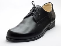 Black leather shoe Stock Photo