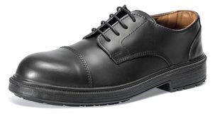 Black leather shoe stock image