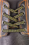 Black leather shoe laces in close-up. Stock Photography