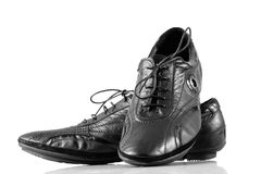 Black leather shoes Stock Photos