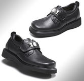 Black leather shoes Stock Photography