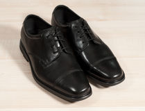 Black Leather Shoes. (left side Royalty Free Stock Photography