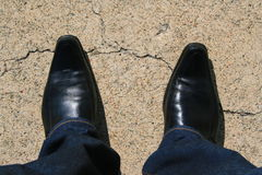 Black Leather Shoes. Close up of a black leather shoes Royalty Free Stock Photos