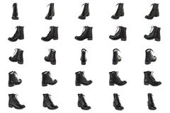 Black leather shoes from different angle Stock Image