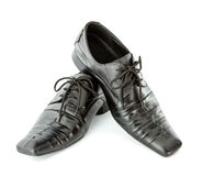 Black Leather shoes isolate Stock Photos
