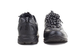 Black leather shoes on a white background Stock Photo