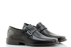 Black Leather Slip-on Shoes for men. With Rubber Sole on white background Royalty Free Stock Images