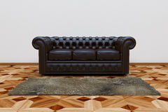 Black leather sofa. 3D render of black leather sofa and brown carpet on wooden parquet Royalty Free Stock Photo